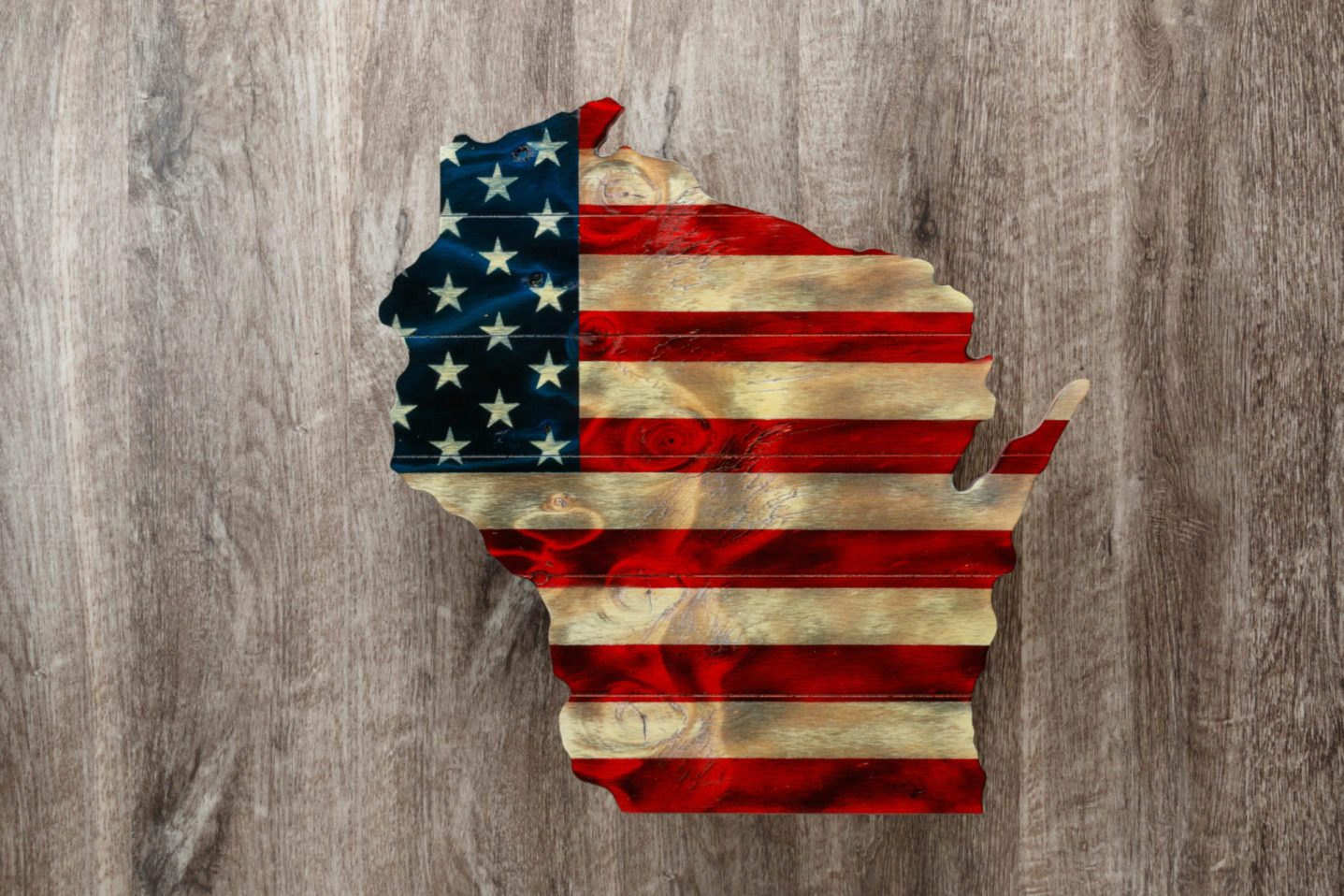 Wisconsin wooden American flag wall art