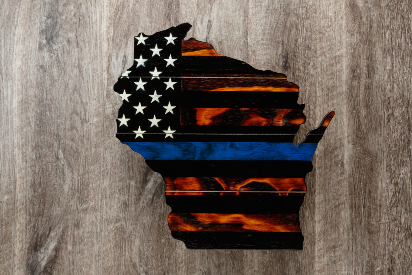 Thin blue line Wisconsin wooden American flag wall art