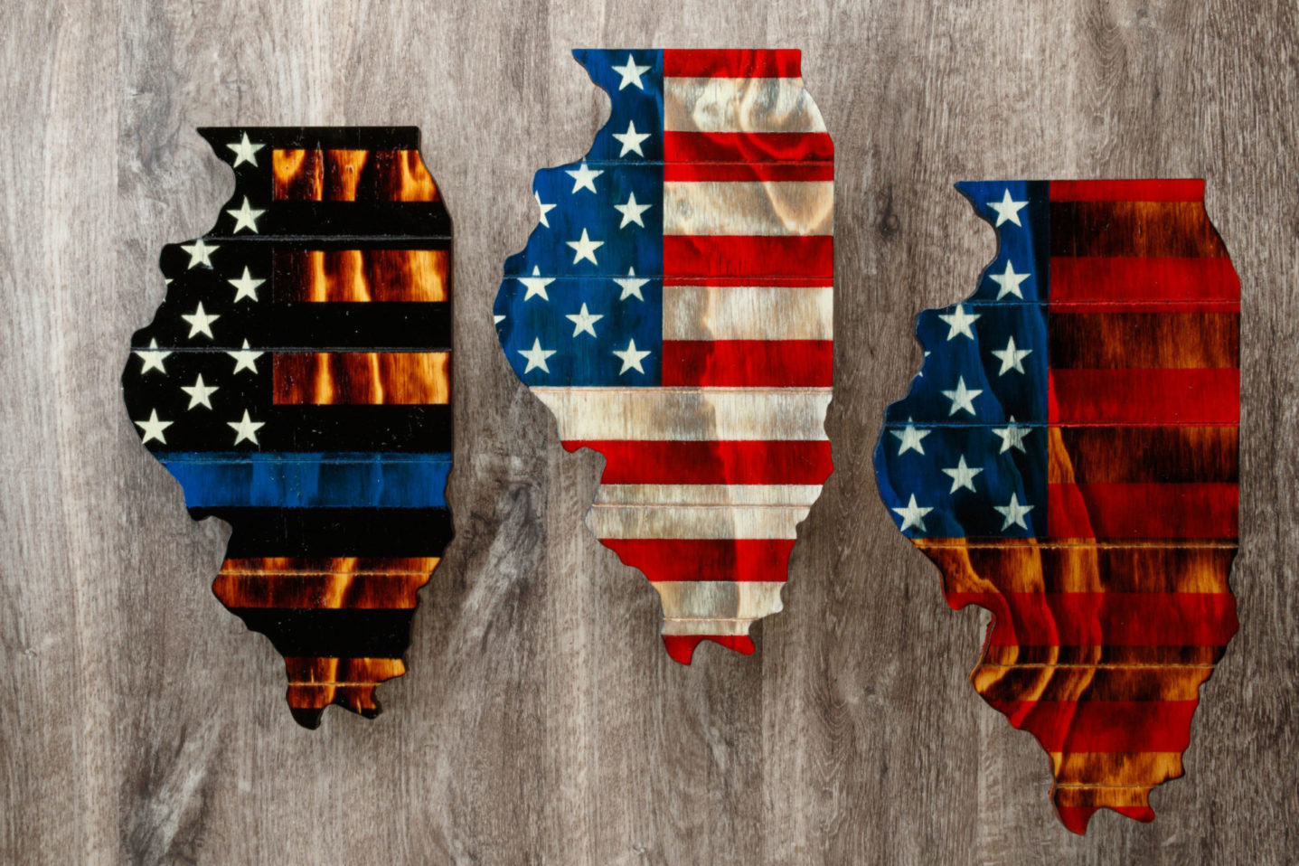 Illinois wooden American flag wall art