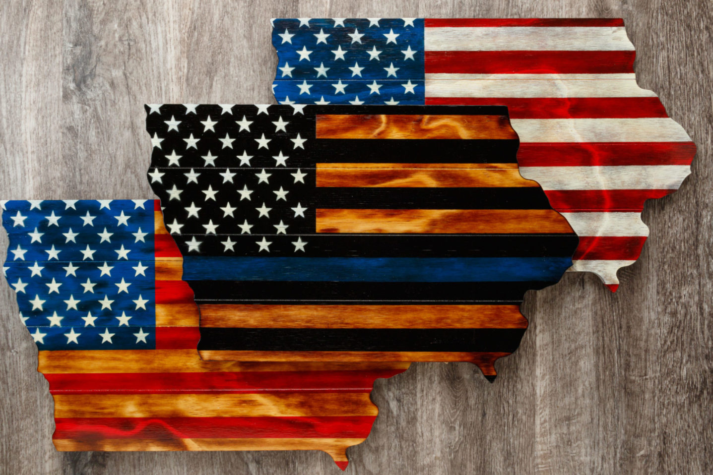 Iowa wooden American flag wall art