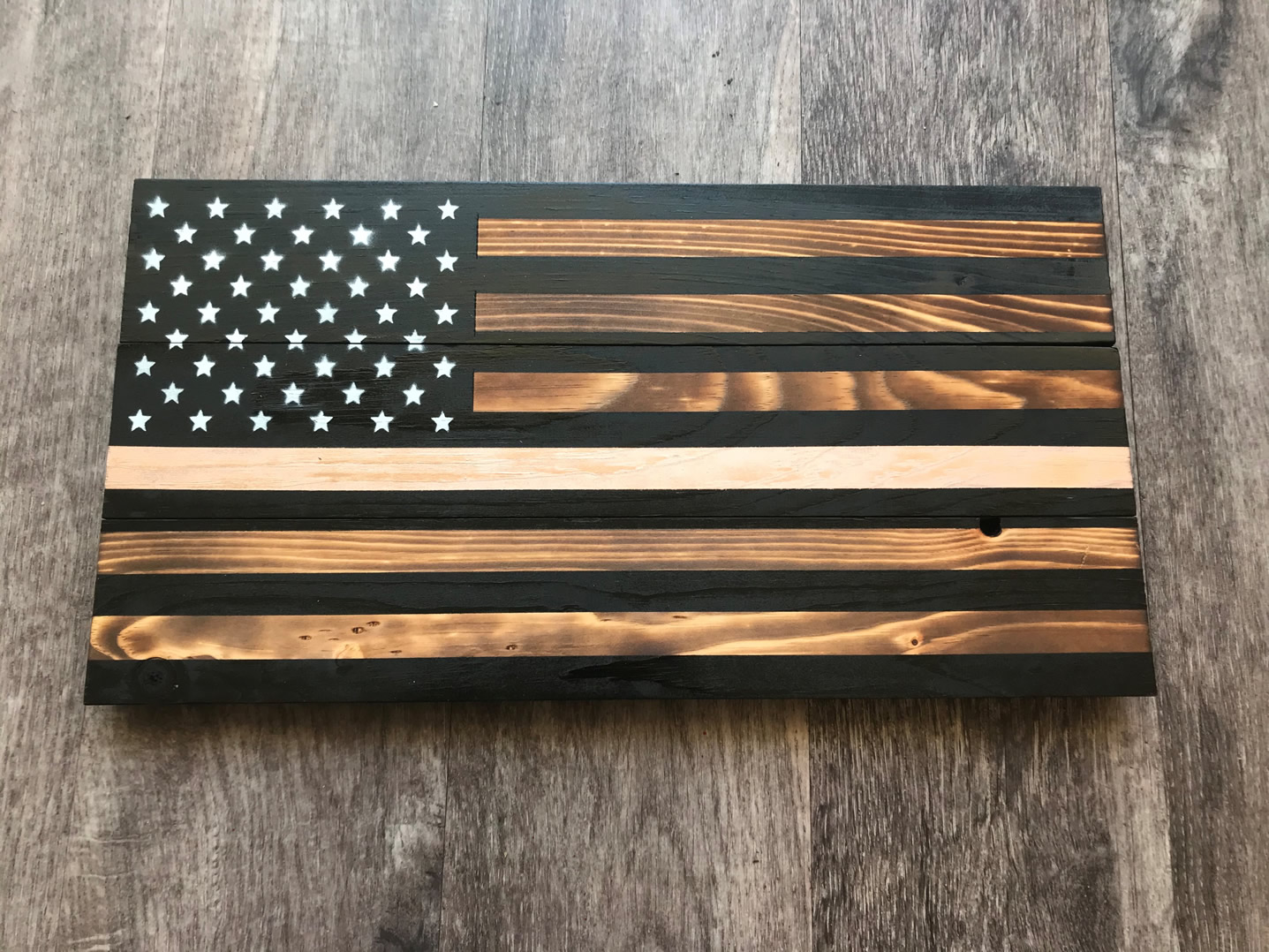 Gold line wooden American flag wall art