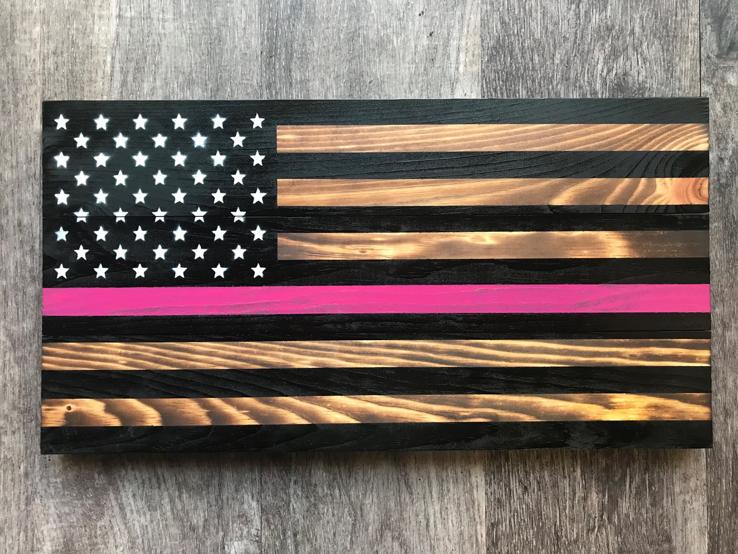 Breast Cancer awareness wooden American flag wall art
