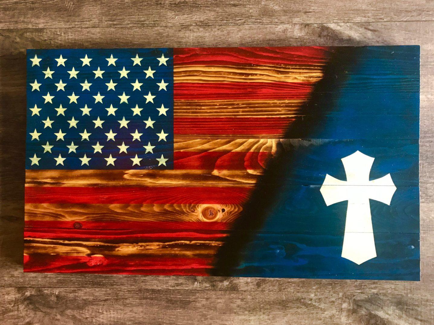 US Flag-Celtic White Cross