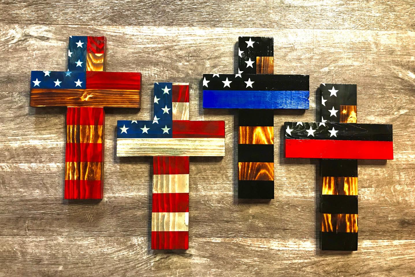 Cross American flag wall art