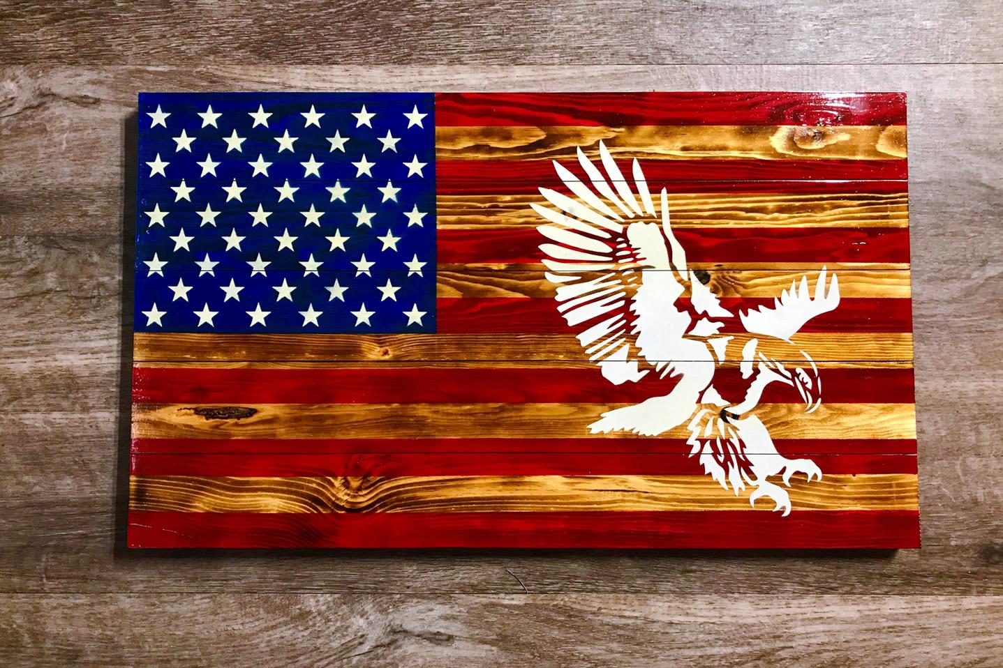 Eagle wooden American flag wall art