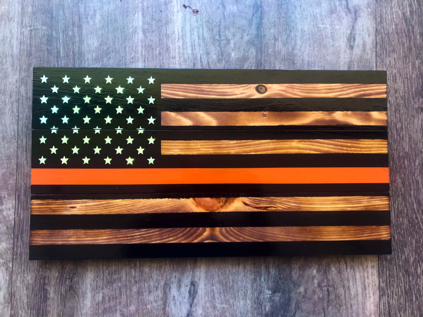 Orange line wooden American flag wall art