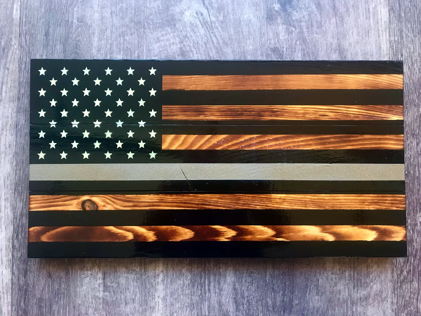 Silver line wooden American flag wall art