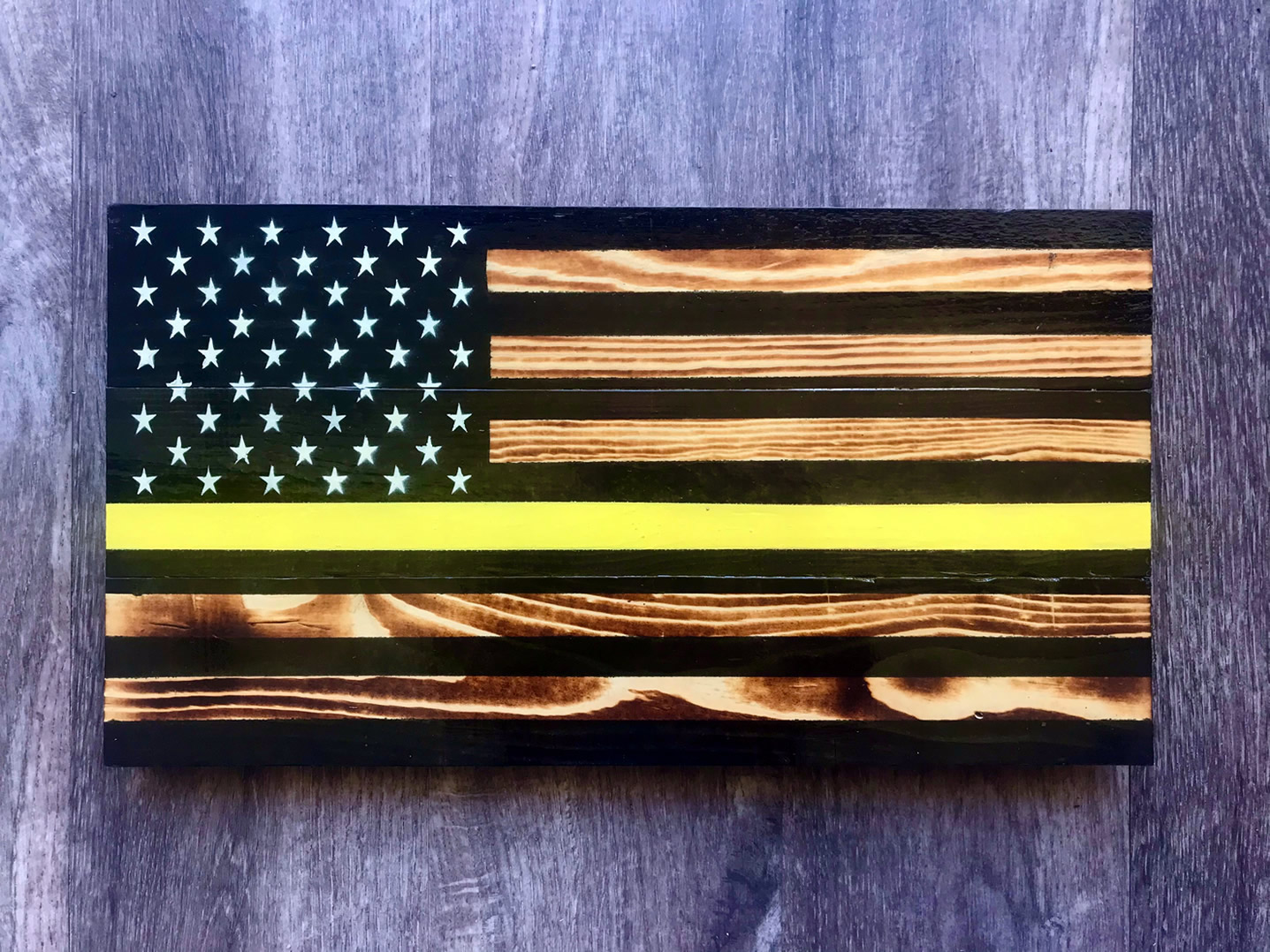 Yellow line wooden American flag wall art