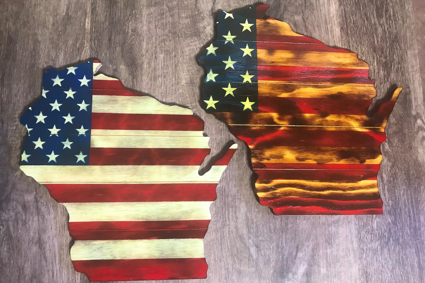 Wisconsin American flag wall art